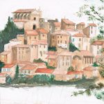 <em>Lago di Bracciano 1995</em> | acrylverf op papier | 24 × 16 cm