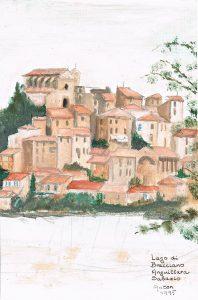 """Lago di Bracciano"" 1995  acrylverf op papier 24 x 16 cm"
