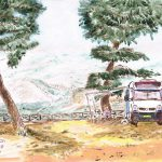 <em>Delphi Camping 2008</em> | acrylic paint on paper | 21 × 30 cm