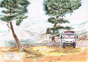 """""""Delphi Camping"""" 2008  acrylverf op papier 21 x 30 cm"""