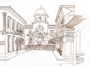 """Amfissa Ecclesia Metropolis"" 2004  pentekening op papier 21 x 28 cm"
