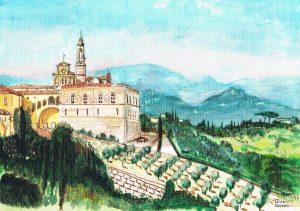 """""""Firenze Certosa"""" 1997 acrylverf op papier 24 x 30 cm"""