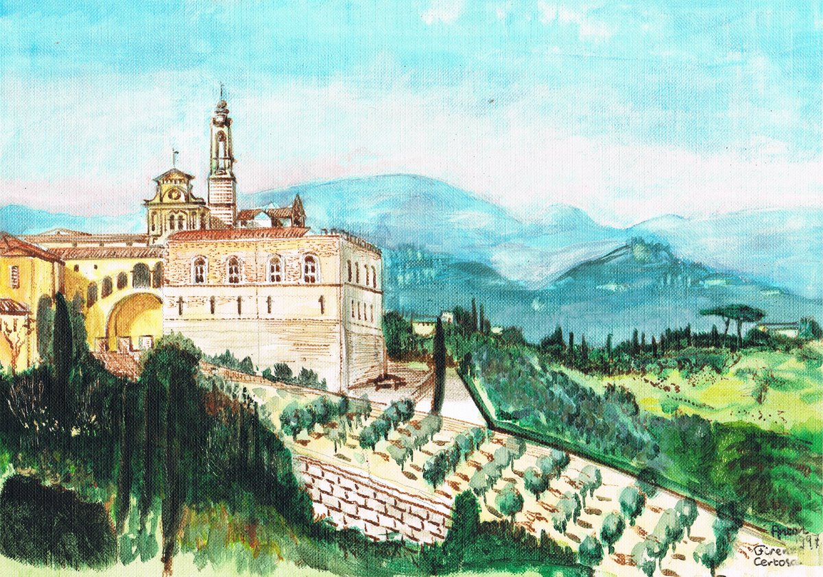 <em>Firenze Certosa 1997</em> | acrylic paint on paper | 24 × 30 cm