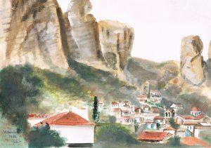 """""""Kalambaka"""" 1982  acrylverf op papier 23 x 30 cm"""