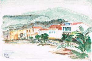 """Rethymnon"" 1981 acrylverf op papier 19 x 27 cm"