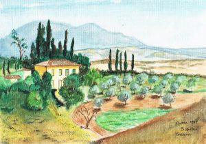 """Siena"" 1997  acrylverf op papier 24 x 30 cm"