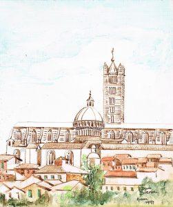 """""""Dom Siena"""" 1997  acrylverf op papier 24 x 20 cm"""