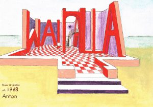 """Walhalla"" 1968  acrylverf op papier 24 x 30 cm"